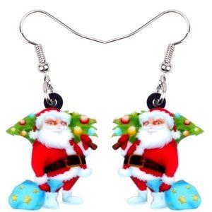 Santa Carrying Tree Acrylic Earrings